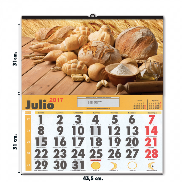 Calendario con faldilla mensual grande
