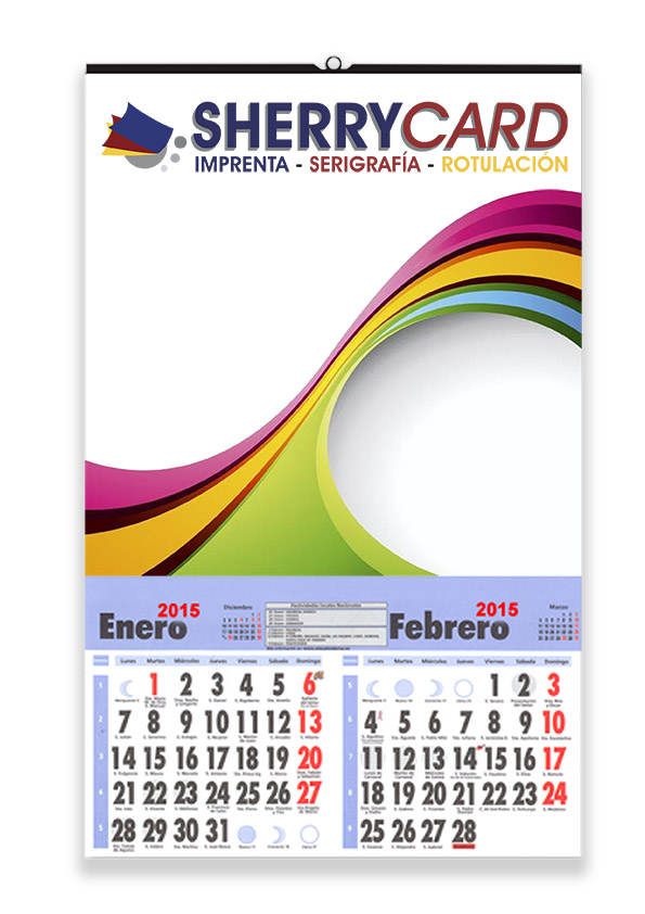 Calendario de pared con faldilla bimensual