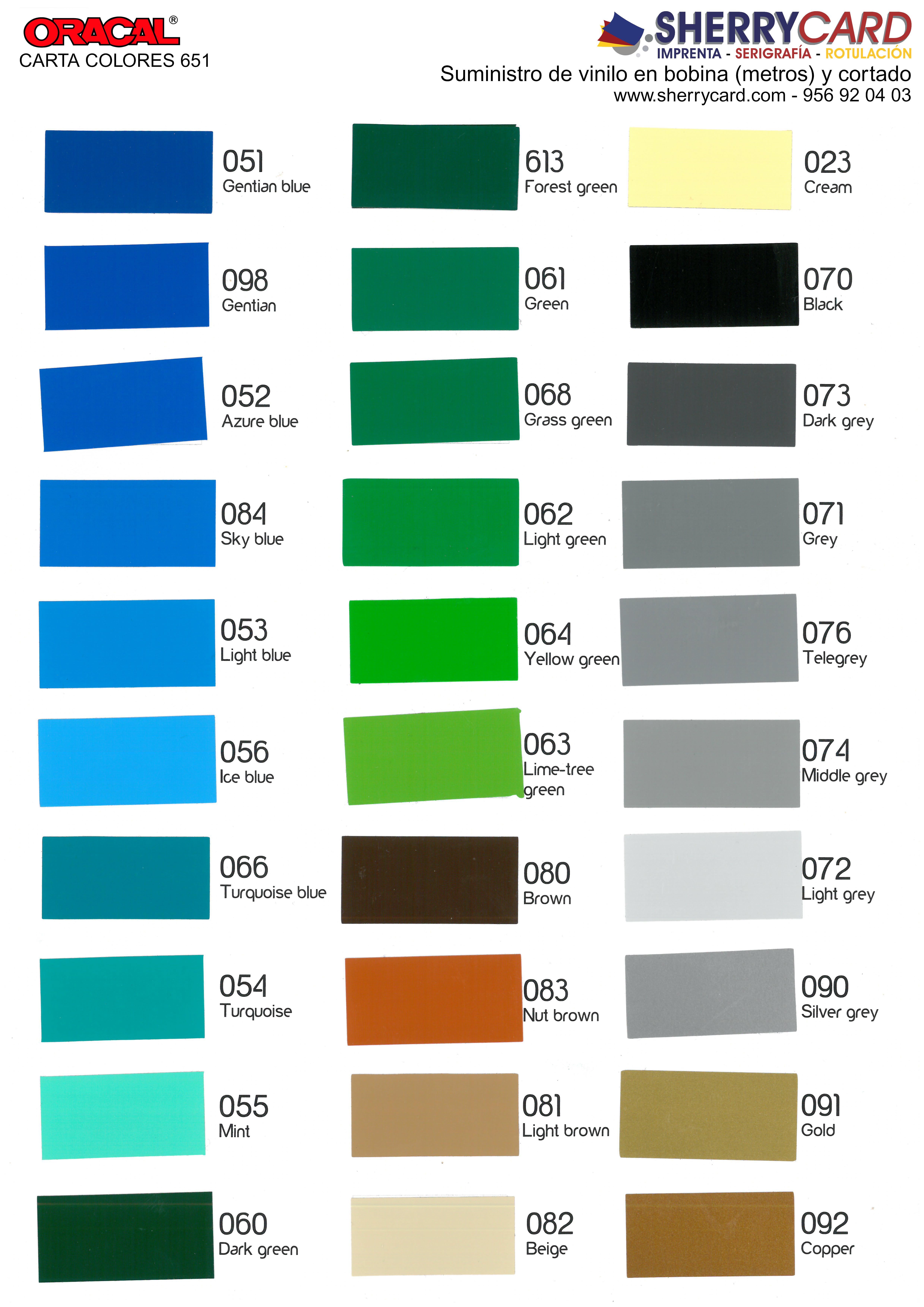 Carta de colores vinilos de rotulac n y textil - Vinilos de color ...