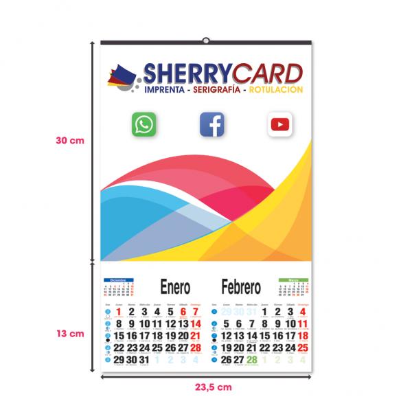 Calendario de pared con faldilla